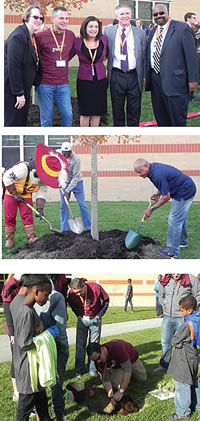 Cavs and Partners Plant Trees for Threes at Heritage View Homes